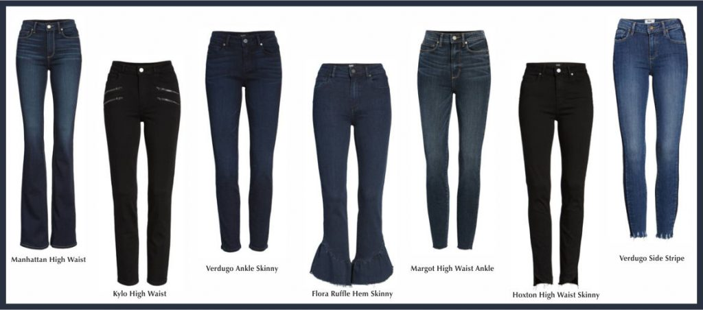 Picture of 7 pairs of cute Paige jeans. All different styles and all blue denim or black.
