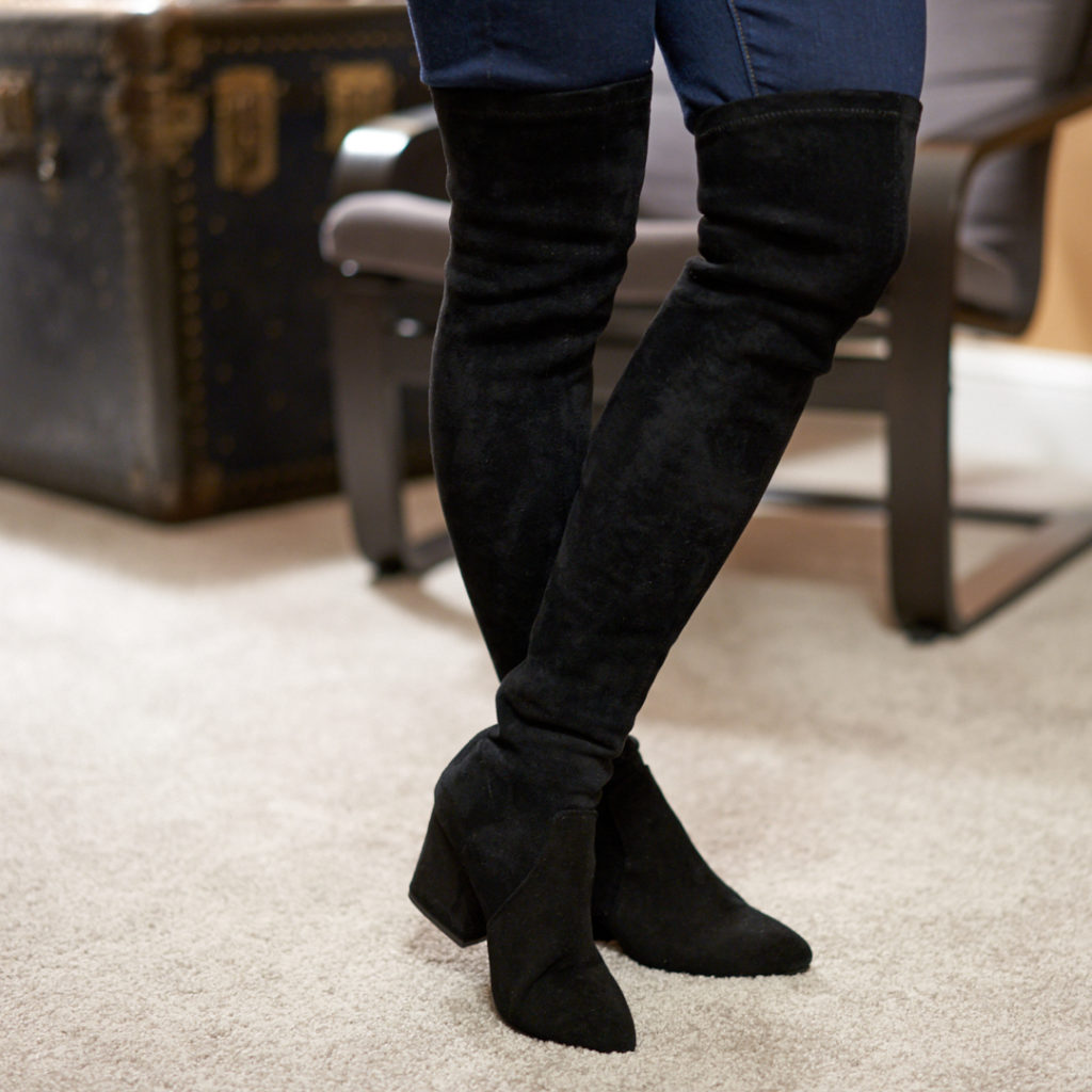 7a685c14bd5ed Some complaints on an over the knee boot could be that the ankle is too  roomy or the boot slips down the leg. These are very important factors to  consider ...