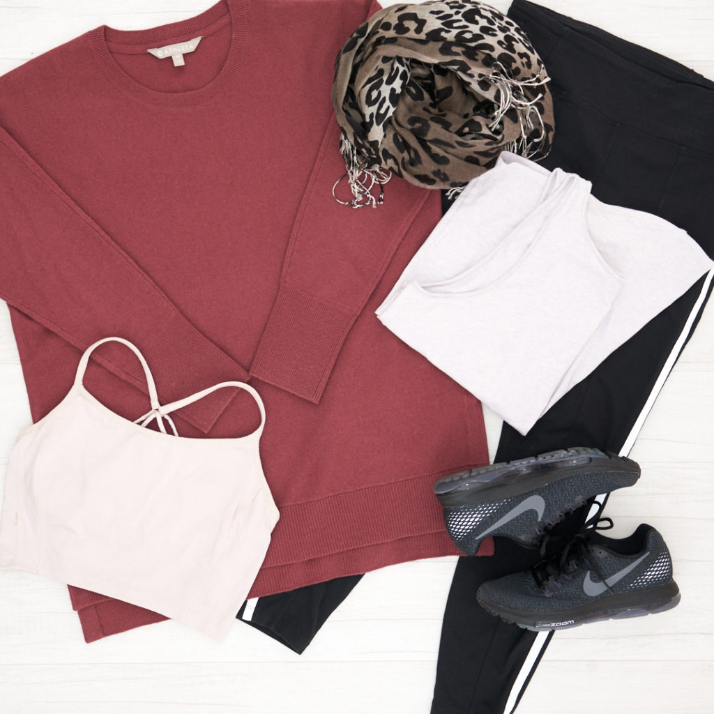 Athleta Wool/Cashmere Sweater with Athleta Metro 7/8 tights with white stripe down the side, Nike All Out Running shoe in black and a Athleta sports bra, tank and leopard scarf.
