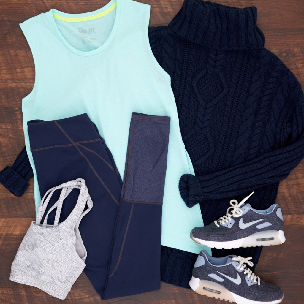 Athletic wear outfit with Athleta chaturanga tights, Lululemon sports bra, Nike tank, Athleta wool sweater and Nike sneakers in blue