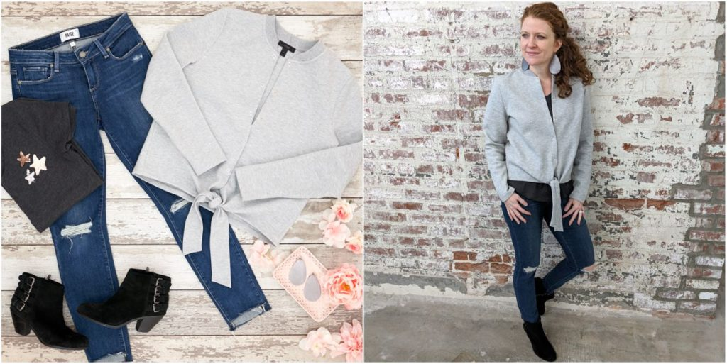 Flat Lay to Life-Styled with J Crew Tie Front Cardigan