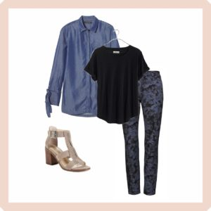 Banana Republic Chambray Tunic Blouse with Skinny Floral Pants, a black tee and heeled sandals
