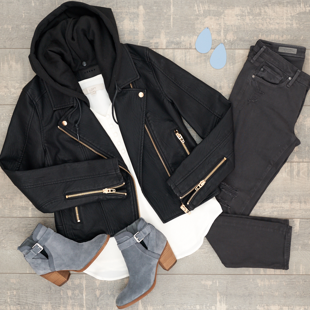BlankNYC moto jacket with black jeans and grey booties
