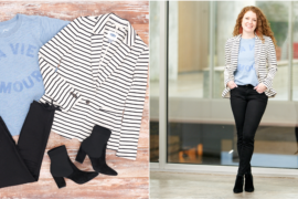 This is a flat lay photo and a life styled photo of an outfit with a blazer.