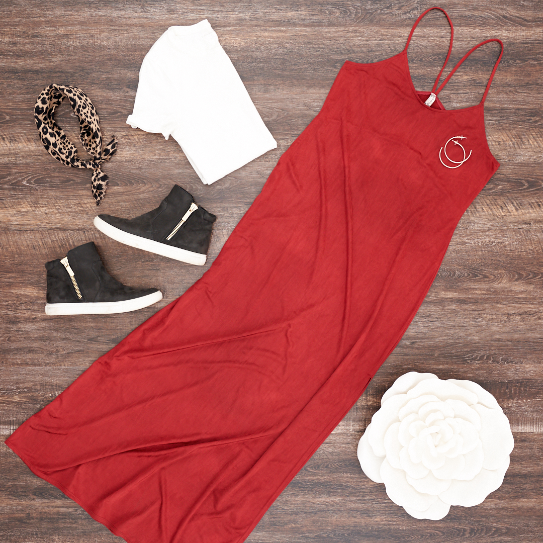 The penny dress or slip dress styled with a sneaker, white tee and leopard scarf for around the neck