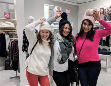 Komal, Stephanie and I shopping in Loft showing off our beanies