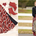 A Flat lay to life-styled photo of skater skirt and cupro blouse for the holidays