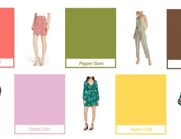 Image of some of the colors for 2019 plus some clothing items with the colors in them
