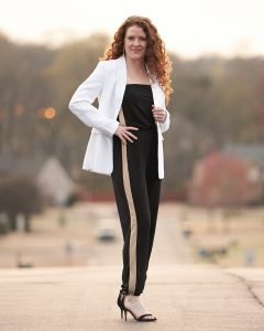 3 Ways to Style a Jumpsuit for Spring - White blazer and black heels outfit