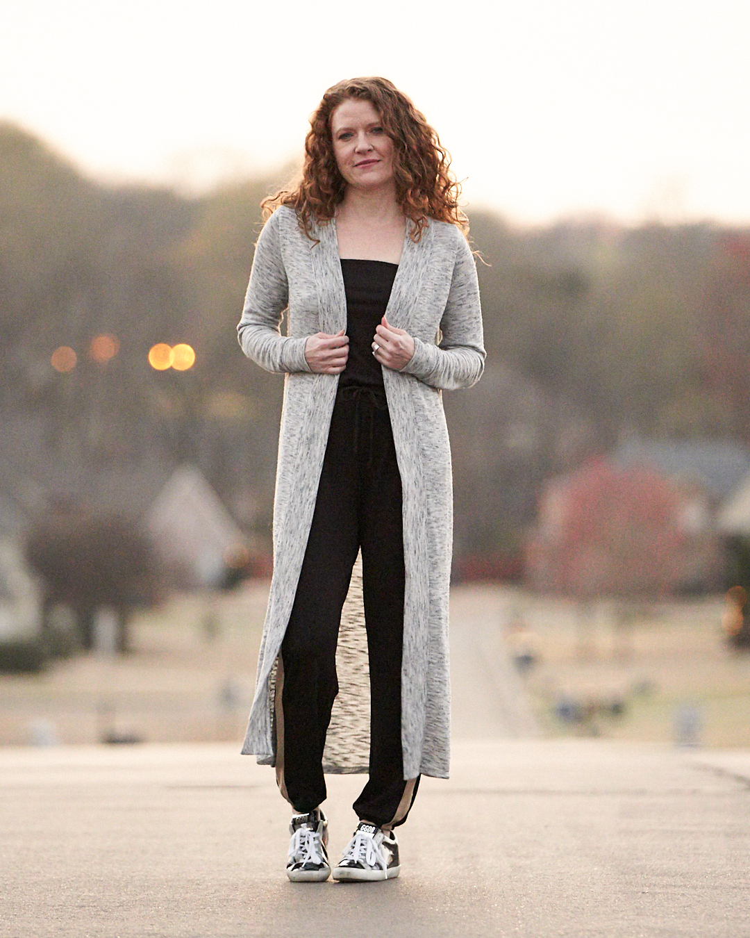 Long Cardi and GG Sneakers and Nickel and Suede Earrings