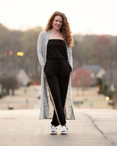 Jumpsuit with long ankle lenght sweater and golden goose sneakers