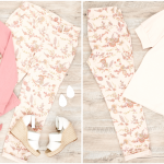 Two Flat Lay photos of floral pants outfits