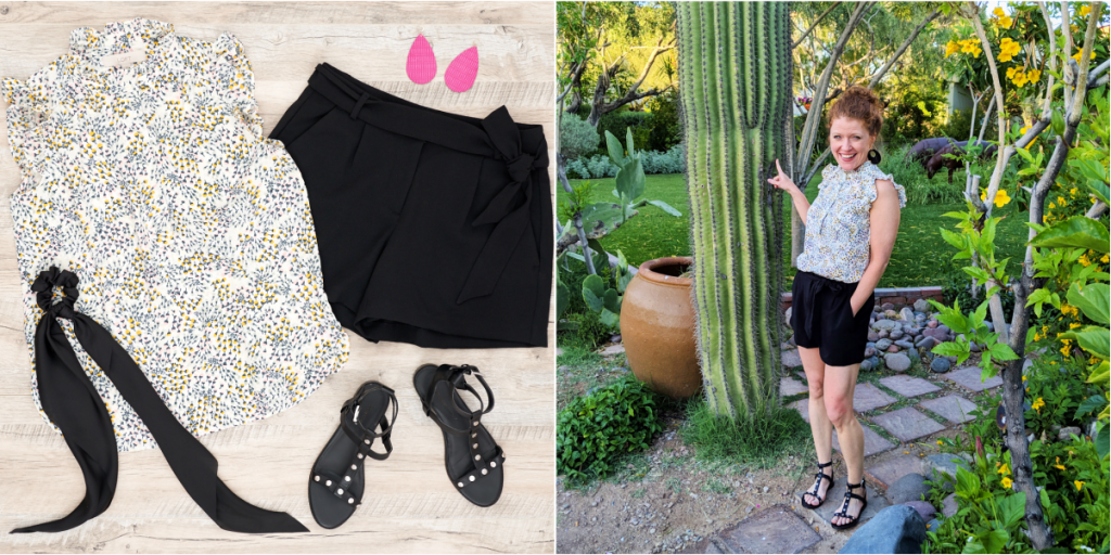 Feature image with floral blouse and black tie waist shorts - flat lay outfit and life styled outfit photo