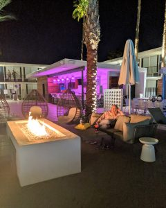 An evening shot of the Hotel Adeline pool area. SO pretty at night!