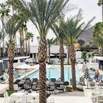 Image of pool are of Hotel Adeline with Camel Back Mountain in the background with palm trees!