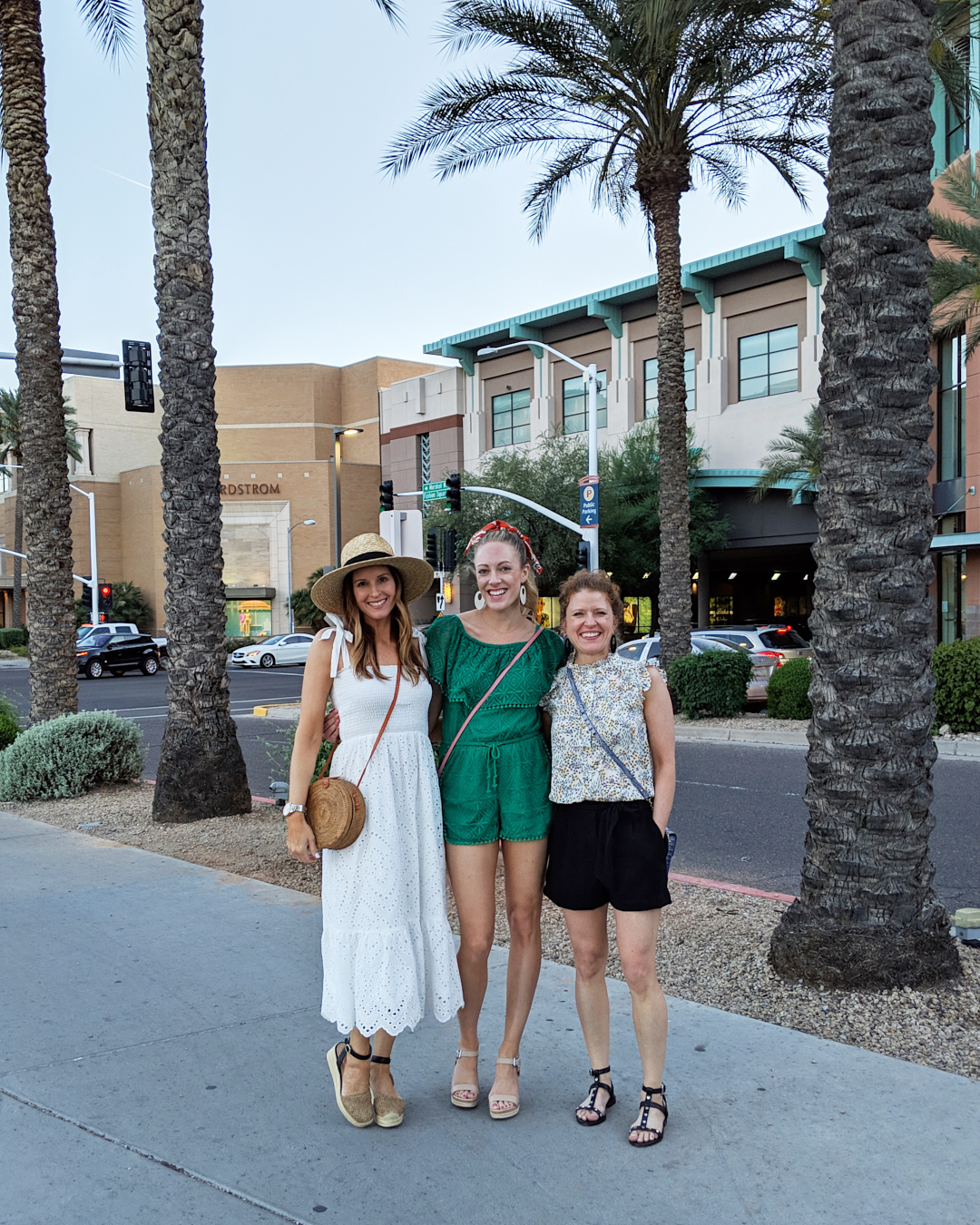 Jennifer, Erika and I standing outside of Fashion Square