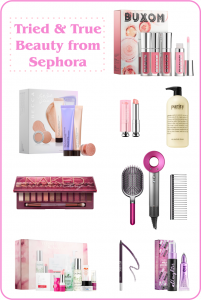 Photo of several of my favorite beauty products from sephora. Pinterest size graphic.