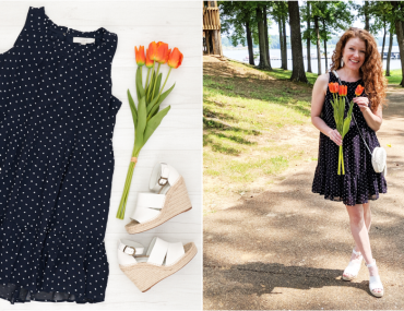 Flat lay photo and life-styled photo of dress with white espadrille wedges, circle bag and circle earrings and orange tulips