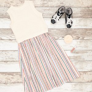 Flat Lay Photo of Zara Dress with Golden Goose Sneakers