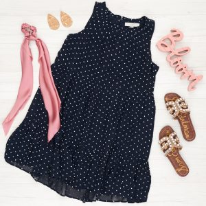 Flat Lay Outfit with cork nickle and Suede earrings, sam edelman blingy sandals and pink hair scarf