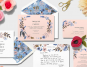 Various picutes of invitations, thank you cards and cards from Paperless Post with flowers and scissors in the backdrop