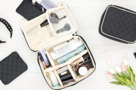 Photo of Ellis james Desigsn Makeup Train Case and smaller version of the bag.