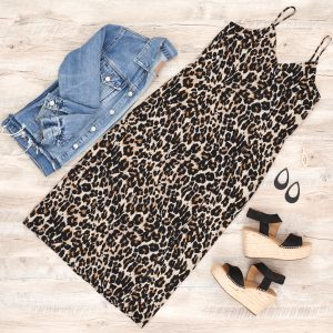 Photo of dress and denim jacket with espadrille wedges and nickel and suede cut out earrings in black