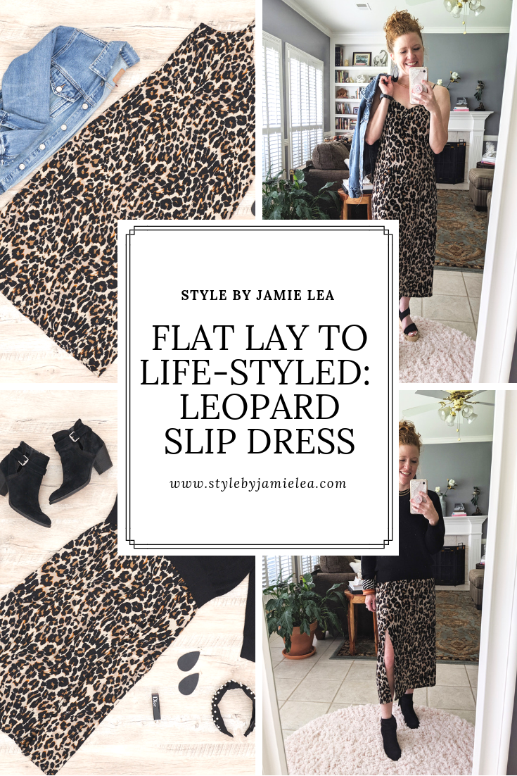Flat lay photos and live photos of two of the outfits . One is just the dress with a possible denim jacket and the other is a black sweater over it with booties.