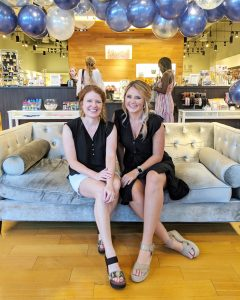 Jamie and Presley of Lettersandlifestyle at the Indigo shopping event. I am wearing black and white and my OTBT Bushnell Wedges