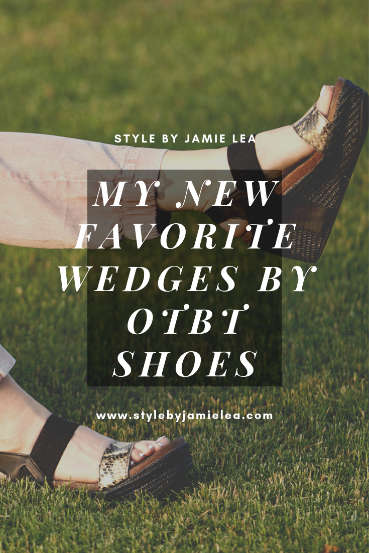 Pinterest graphic with text on it over a picture of Jamie's feet with OTBT wedges on.