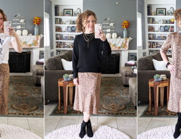 Feature Image of 3 mirrorshots of me wearing the slip-on skirt