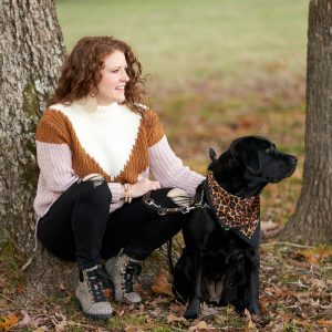 Jamie and Robin at the Park - I'm squating down to Robin and we are looking out at another dog
