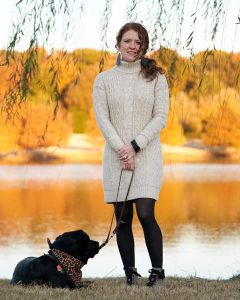 Jamie and Robin at the lake and Robin is laying down - she is tired of photos by this time! Jamie is Weaing the sweater dress with her OTBT Lakewood Leopard Print Booties
