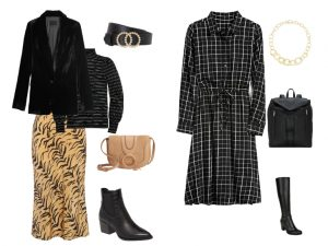 Dressy outfits for holiday events. A black velvet blazer with a black metallic striped turtleneck and the zebra slip-on skirt, 2nd outfit is a black and white plaid shirtdress paired with tall boots.