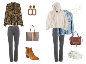 Photo of a fall floral blouse with gray corduroy jeans and the other is a fuzzy zip up jacket with a hood over a plaid flannel and with the gray corduroys.