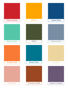 Pantone Color Swatches: Flame Scarlet, Saffron, Classic Blue, Biscay Green, Chive, Faded Denim, Orange Peel, Mosaic Blue, Sunlight, Coral Pink, Cinnamon Stick, Grape Compote