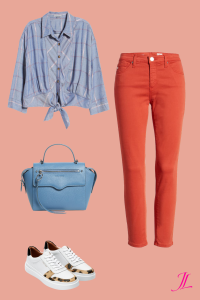 A photo of a blue button down tie waist top, orange peel skinny jeans, a denim blue satchel bag and cole haan white sneakers with a touch of leopard!