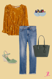 A photo of cropped frayed blue jeans, a saffron colored ruffle floral blouse, kate spade olive green tote bag and aqua green espadrille wedges and Nickel and Suede earrings.