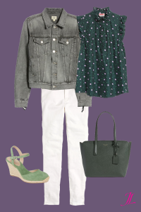 Photo of gray denim jacket with a green with purple polka dots sleevless blouse, white jeans, a olive green kate spade bag and a pair of aqua green espadrille wedges.