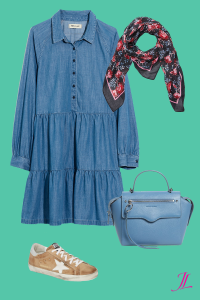 Photo of Blue Denim Dress paired with a denim blue bag, golden goose camel sneakers and a floral scarf. All representing spring/summer pantone colors