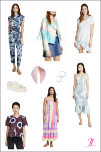 Photo of dresses, jacket, top and head band that are tie dye for spring