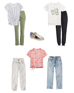 A collage of different tees and pants or jeans to wear while staying at home.
