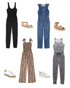 Casual Jumpsuits in a collage. 4 with matching sneakers or sandals.