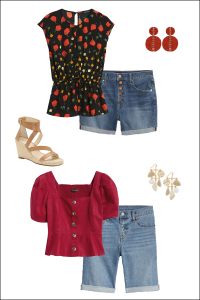 Two Cut Off Shorts outfits for Summer, Styled With Wedges and Peplum Tops