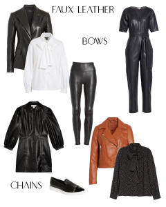 Fall/Winter 2020 Trends: Faux Leather Blazer, Leggings, Jumpsuit and Dress, Bow Tie-Neck Blouse, A Sneaker with Chains on It