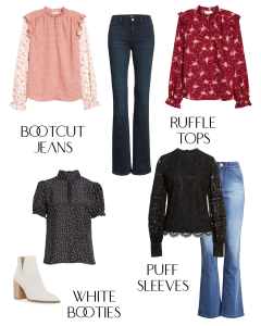 Fall/Winter Trends For 2020: BootCut Jeans with Ruffle Tops, Puff Sleeve Blouses and White Booties