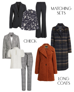 Fall/ Winter 2020: Matching Sets, Check Suits and Coat, Long Coats, FLoral Blouse and Puff Sleeve Blouse
