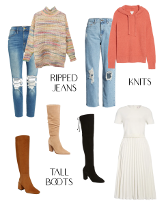 Fall/Winter 2020 Trends: Pictures of Ripped Jeans, Chunky Sweaters, Tall Boots and A Knit Dress
