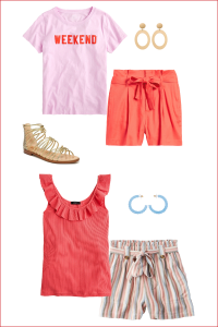 Paperbag Waist Shorts Styled With A Graphic Tee and A Ruffle Tank Top With Gladiator Sandals