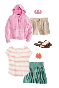Pull On Shorts With A Cute Hoodie Half Zip Sweatshirt from J.Crew and Floral Pull On Shorts with a Striped Old Navy Relaxed Tee